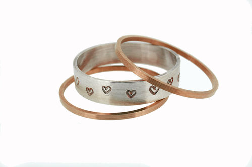 "3er Ring Set ""Lovely"" bicolor aus Rotgold und Silber"