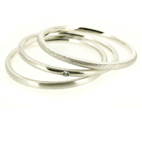 Ring Set Trio 585 Weißgold mit Brillant